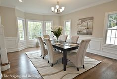 Contemporary Dining Room with Crown molding, Wainscotting, Coaster Rolled Back Parson Dining Chair in Tan, Hardwood floors