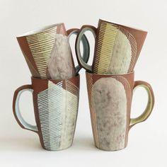 Sweet latte mugs going to @nceca with @northernclaycenter for the expo hall! #studiopottery #pottery #slipcast #stoneware #handmademug #mug #lattemug #ceramic by elizabethpechacek