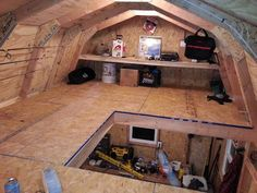 This shed loft is being used to keep fishing gear neat and organized.