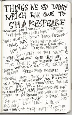 Phrases we owe to Shakespeare via On The Strand blog
