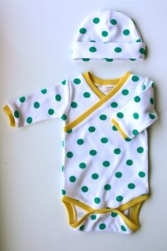 Turquoise Polka Dot Newborn Kimono Onesie and Hat Set by ZaaBerry