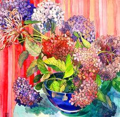 Hydrangeas by Sophia Perina-Miller. Watercolor & Gel Pen