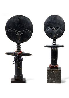 Africa   Dolls from the Ashanti people of Ghana   Dark wood, glass beads, fiber