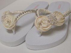 Ivory Bridal Flip Flops / Wedding Satin Flip Flops / Rhinestone Flip Flops .. $36.99, via Etsy.