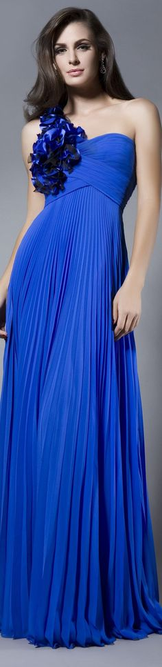 Blue pleated gown.