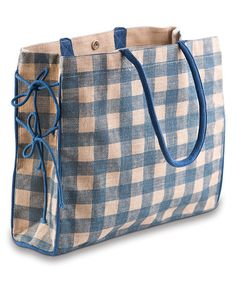 Another great find on #zulily! Blue & White Check Market Bag #zulilyfinds