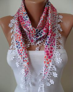 Pink and Purple Flowered Shawl / Scarf with Lace by SwedishShop, $14.90