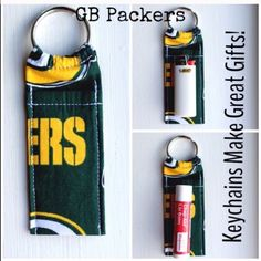 """Green Bay Packers NWOT NFL Chapstick Keychain Green Bay Packers NWOT NFL Print Chapstick Keychain Fits Mini Bic Lighters~and Flash Drives Size 4"""" x 1  1/2"""" Smoke Free Home Chapstick/Lighter NOT Included ✨Pattern placement varies✨ All Keychains are made with high quality material from a smoke free home Interface Metal Keyring Accessories Key & Card Holders"""