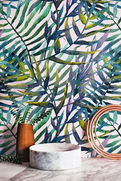 Transform any room in your home into a tropical paradise with this self adhesive wallpaper! This vinyl wallpaper features a print of watercolor Self Adhesive Wallpaper, Vinyl Wallpaper, Leaves Wallpaper, Feature Wallpaper, Tropical Wallpaper, Tropical Decor, Motif Tropical, Tropical Paradise, Tropical Leaves