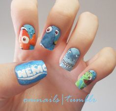 Finding Nemo inspired nail art.