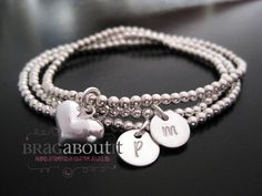 Hand Stamped Personalized Initial Bracelets - Sterling Silver Beaded Bracelet - Set Of Three - Forever Love. $96.00, via Etsy.