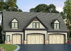 This large, residential 3 bay garage is perfect as a compliment to an existing house or as a standalone garage. The traditional exterior has 3 garage bays. Rv Garage, Garage Apartment Plans, Garage Apartments, Garage House, Garage Ideas, Dream Garage, Garage Doors, Apartment Office, Small Garage