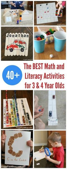 Here is a huge collection of our favorite math and literacy learning activities for preschoolers and 4 year olds). So many ideas for hands-on learning and play! Literacy Activities Go on a Detective Alphabet Hunt – Hunt for letters with a magnifying g 4 Year Old Activities, Preschool Learning Activities, Preschool Classroom, Fun Learning, Toddler Activities, Activities For Kids, Learning Letters, 3 Year Old Preschool, Preschool Schedule