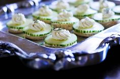 Cucumber tea sandwiches. A definite classic little nibble that sure does disappear fast.