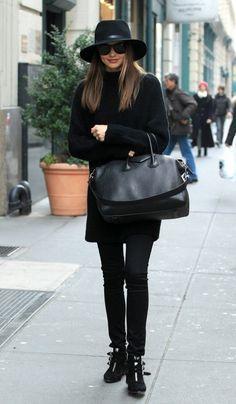 Miranda Kerr – model miranda kerr, fedora, knit sweater, givenchy bag, tabitha simmons boots, street style