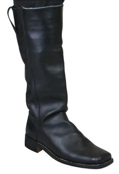 Victorian Mens Black Leather Boots | Dickens | Downton Abbey | Edwardian || Mens Riding Long Boot - Black Leather