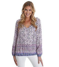 Lucky Brand® Long Sleeve Boarder Print Top | Carson's