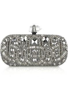 Marchesa Swarovski crystal-embellished clutch