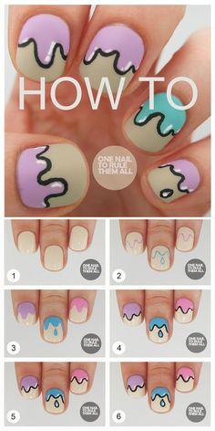 Pretty pastel drip nails tutorial