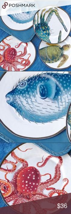 Pottery Barn Set 4 Plates Ocean Beach Coastal Set 4 Melamine plates. 9 inches diameter. Ocean coastal sea life. Intense color. Octopus, blue-crab, pufferfish and sea turtle. New.  Top rack dishwasher safe. Pottery barn Other