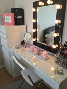 My shrine! Malm collection from ikea, Hollywood mirror