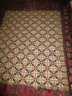 Antique 19th C American Woven Coverlet 3 Color Overshot   eBay