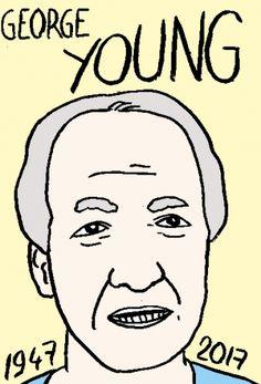 mort de George Young, dessin, portrait, laurent jacquy,répertoire des macchabées célèbres,mort d'homme,