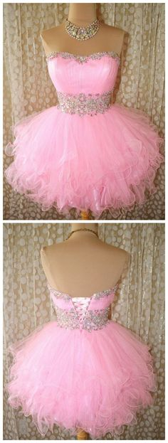 short pink prom dress,beading sweetheart homecomingdress #SIMIBridal