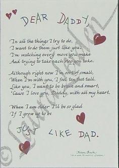 Dear Daddy Poem So Cute