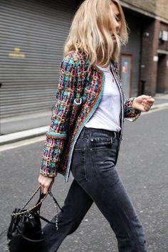 Cheap Women S Fashion Blazers Fashion Me Now, 60 Fashion, Chanel Fashion, Blazer Fashion, Denim Fashion, Fashion Outfits, Womens Fashion, Chanel Outfit, Chanel Tweed Jacket