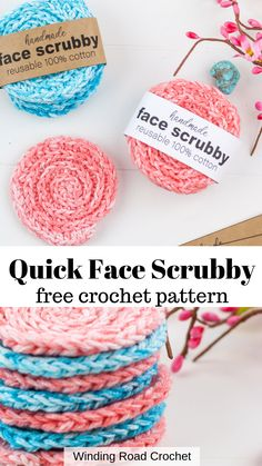 Quick and easy crochet face scrubby. Free crochet pattern by Winding Road Crochet. and easy crochet projects How To Crochet Face Scrubbies: Free Pattern To Love - Winding Road Crochet Spiral Crochet, Love Crochet, Learn To Crochet, Crochet Hooks, Knit Crochet, Scrubbies Crochet Pattern, Diy Crochet Face Scrubbies, Dishcloth Crochet, Crochet Edgings
