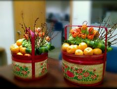 "Chinese New Year Floral Gift Basket. ""Gong Xi Fa Cai"""