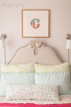 A perfectly styled bed in a perfectly-styled #biggirlroom!