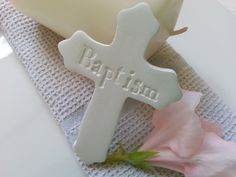 Baptism Cross Favour Clay Tag by MYMIMISTAR on Etsy