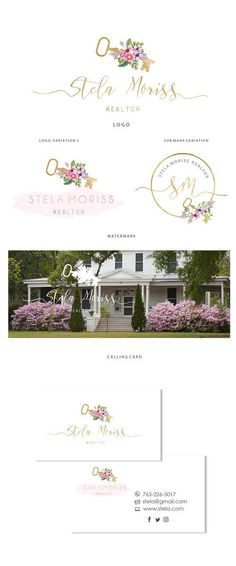 Branding kit logo design  Real estate flower key logo  Gold