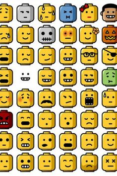 Feelings chart A la Lego. Could be a fun way to engage the elementary age kiddos to different emotions/feelings. Legos, Lego Faces, Lego Head, Lego Club, Therapy Tools, Lego Therapy, Feelings And Emotions, Feelings Chart, Lego Birthday