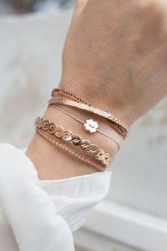 Rose gold plated bangles in combination with textile and handmade Guanabana bracelets gives this armcandy an exotic touch… WWW. Cute Jewelry, Gold Jewelry, Jewelry Box, Jewelry Accessories, Fashion Accessories, Fashion Jewelry, Women Jewelry, Bridal Jewelry, Jewellery Uk