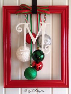 Whimsical Christmas Ornament Frame on Etsy. I could make this with just a frame, letter from Michaels, Christmas balls, ribbon and a hot glue gun! Christmas Door, Winter Christmas, All Things Christmas, Christmas Holidays, Christmas Wreaths, Christmas Ornaments, Photo Ornaments, Christmas Picture Frames, Frugal Christmas