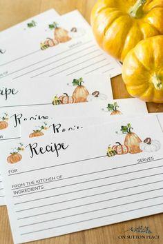 Fall Recipe Card Pri