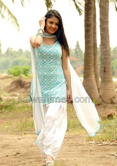 Turquoise and White Patiala Suit