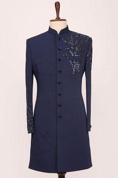 Indian Men Fashion, Mens Fashion, Indian Groom Dress, Western Suits, Tuxedo For Men, Sherwani, Black Suits, Mandarin Collar, Wedding Suits