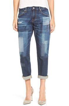 AG 'The Ex-Boyfriend' Distressed Patchwork Slim Jeans (10 Years Dimension)…