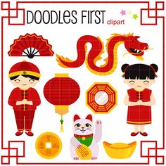 Kung Hei Fat Choi Chinese New Year Digital Clip Art for Scrapbooking Card Making Cupcake Toppers Paper Crafts by DoodlesFirst on Etsy https://www.etsy.com/listing/221467725/kung-hei-fat-choi-chinese-new-year