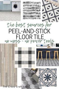 Paint Floor Tiles, Stick On Tiles Floor, Painting Kitchen Tiles, Tile Floor Diy, Peel And Stick Floor, Painting Tile Floors, Vinyl Tile Flooring, Peel And Stick Vinyl, Tile Decals