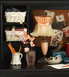 Repurpose flea market dishes as office organizers. Mismatched pieces add charm to a utilitarian space. Use teacups for pens and pencils, and saucers or small plates for stamps, keys, and spare change