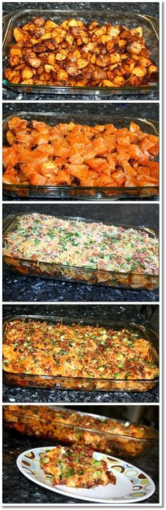 Loaded Potato & Buffalo Chicken Casserole bake potatoes at 500 deg for 40-50 min add chicken and then toppings lower temp and cook at 400 deg for 15-20 mins till chicken is cooked and cheese is bubbly.