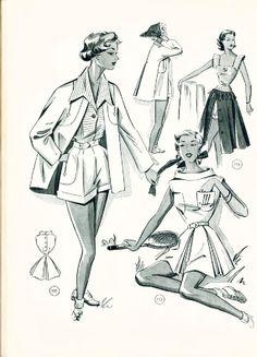1955 Lutterloh's Mode Vintage Dress Patterns, Vintage Dresses, Sewing Patterns, Vintage Outfits, Vintage Beach Photos, Retro Fashion, Vintage Fashion, Fashion Illustration Vintage, Fashion Illustrations