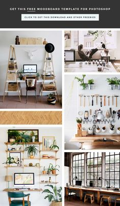 How to create a functional, organized workspace, office, studio you love. Click through too read and download free moodboard template for Photoshop.