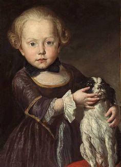 ⍕ Paintings of People & Pets ⍕ Antoine Pesne | Porträt eines Jungen mit seinem Hund