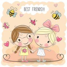 Two Cute cartoon girls - ilustração de arte em vetor